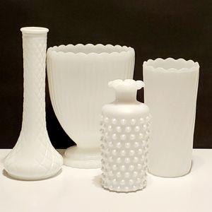Set of 4 Vintage Milk Glass Vases Bouquet & Bud